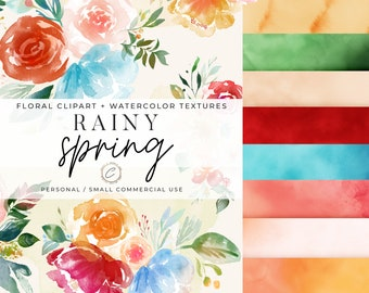 Spring Floral Clipart & Watercolor Texture Backgrounds Commercial Use, Bright Flower Bouquet PNG, Digital paper Botanical Wedding Graphics