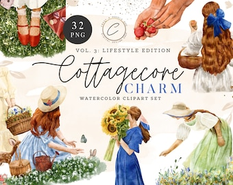 Watercolor Cottagecore Clipart set, Vintage Girl Fashion PNG, Cozy Rustic Farmhouse Clip art Country Chic Garden Wildflower Summer Planner