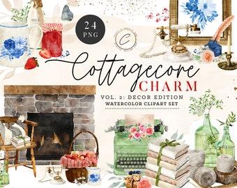 Cottagecore Decor Spring Watercolor Clipart PNG Commercial Use, Farmhouse Clip art bundle Country Chic Home Graphics, Cozy Illustrations Set