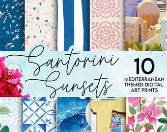 Santorini Sunsets Digital Paper Pack | Mediterranean Moroccan Art Prints | Scrapbook Planner Printables | Wall Decor| Tropical Spanish tiles