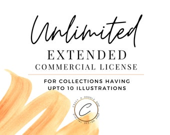 Extended Unlimited Commercial License , Under 10 Watercolor / Digital Download Illustrations, PNG Clipart Printable Digital Paper & Graphics