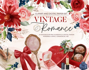 Romantic Clipart Watercolor Digital Paper, Vintage PNG graphics, Love Clip art set commercial use, Red Blush & Navy Floral Rose Arrangements