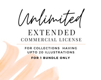 Extended Unlimited Commercial License , Upto 20 Watercolor / Digital Download Illustrations, PNG Clipart Printable Digital Paper & Graphics