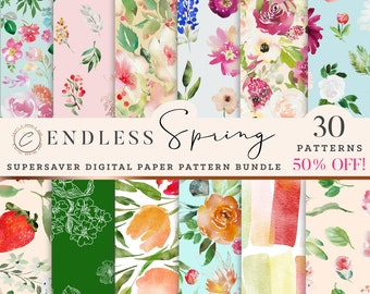Watercolor Spring Digital Paper Pack Commercial Use, Floral Seamless Pattern Download, Repeat Flower Backgrounds, Bright colorful Scrapbook