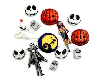 Jesse James Dress It Up Buttons ~ 2 ZERO Buttons Nightmare B 4 Chrstms