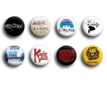 Broadway Show Buttons / Bulk Pins / Individual Buttons / Theater Buttons / Jacket buttons / Pinback buttons / Custom Buttons