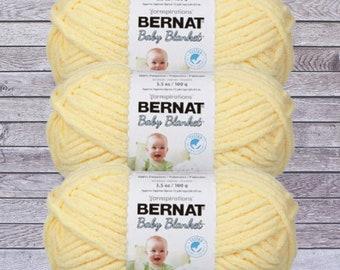 Baby Yellow Bernat Baby Blanket Yarn (3-Pack) 3.5 oz, Gauge 6 Super Bulky, Baby Yellow 161103-3615