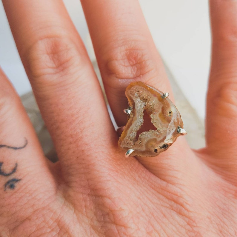 gold band available Agate Geode Raw Natural Mineral 925 Sterling Silver Ring