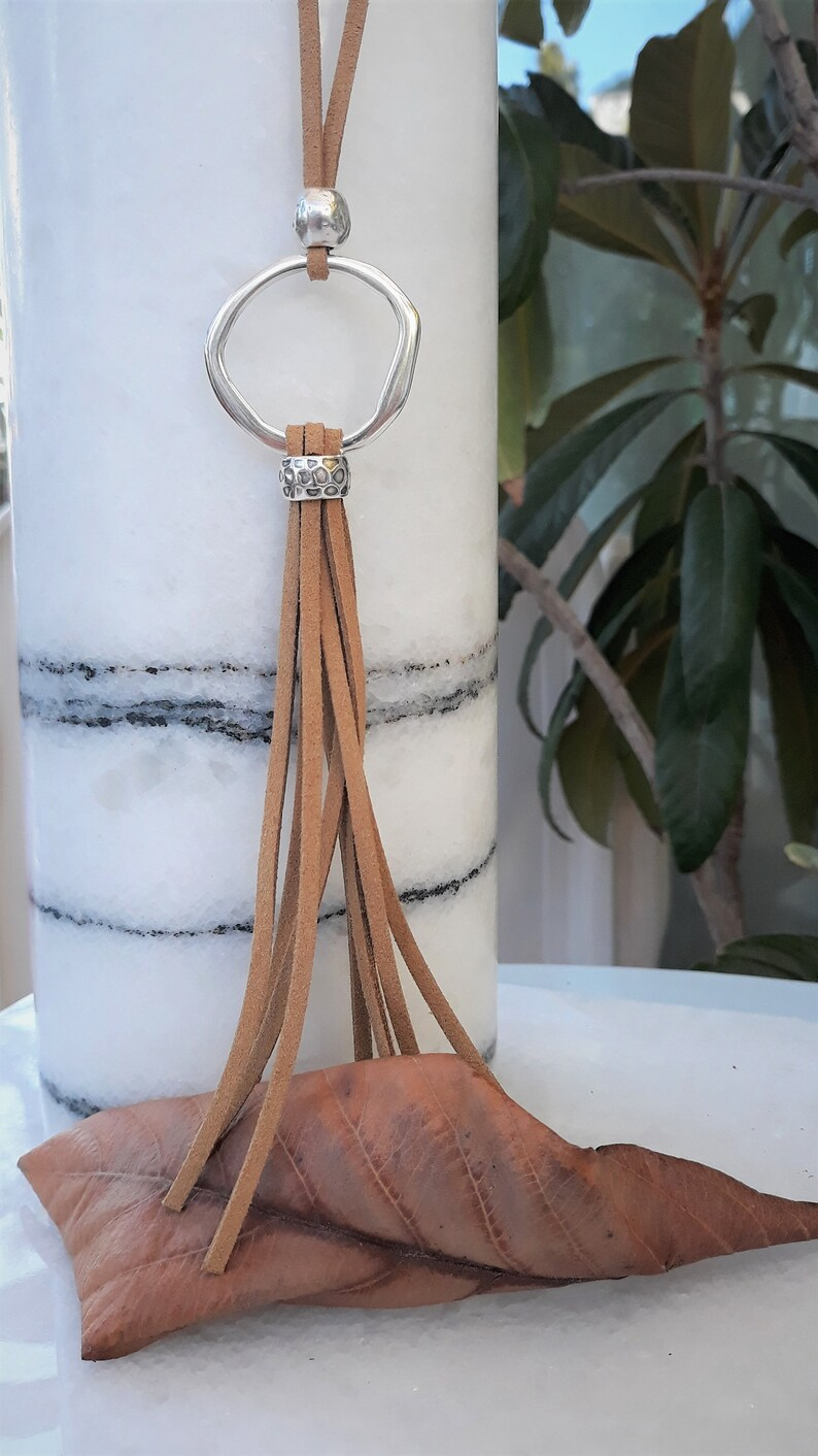 Leather tassel necklace long adjustable necklace with silver pendant womens leather geometric ethnic necklace boho style o ring necklace