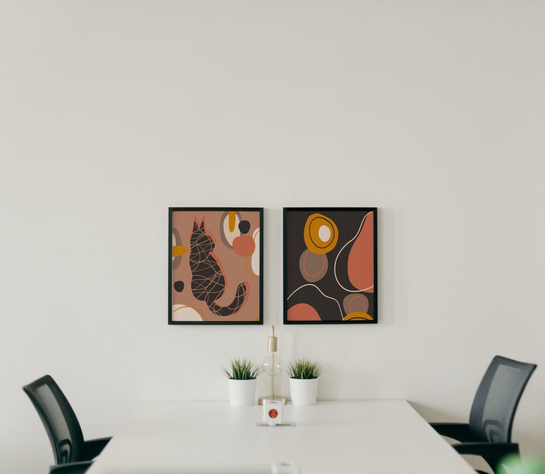 Abstract Cat Lover Print