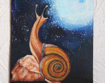 Snail painting original Snail art Fantasy snail art