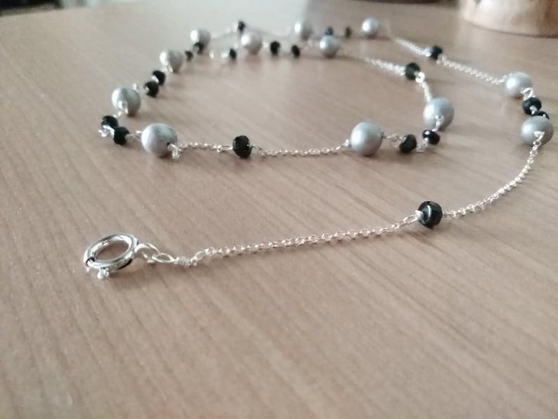 con perle naturali grigie e tormalina nera collana lunga argento 925