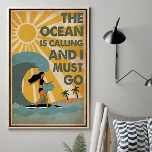 Surfing Lover Gift Hg97b Girl Surfing Poster And She Lived Happily Ever After Vintage Surfing Poster Love Surfing Poster Surfing Poster