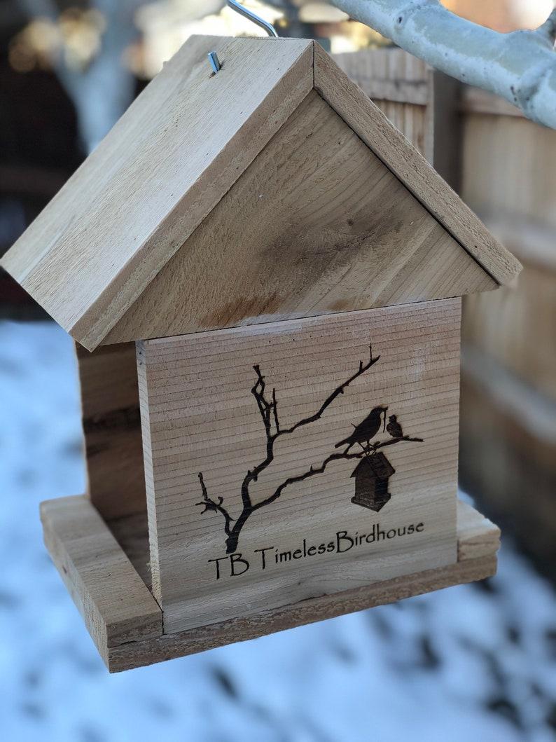 Single Sided Engraving All cedar custom engraved bird feeders