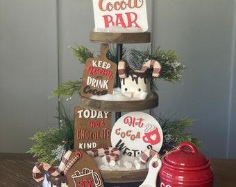 Hot Cocoa Bar Tiered Tray/ Rae Dunn Decor/ Hot Cocoa Signs/ Winter Tiered Tray/ Christmas Decor/ Hot Chocolate Gifts