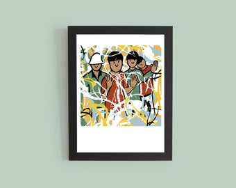 Stone Roses - Album Artwork Print – Music Poster- Illustrated Wall Art - Home Decor- A4,12 Inch, 7 Inch. Pango Tango