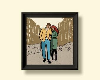 Bob Dylan- The Freewheelin' - Album Artwork Print – Music Poster- Illustrated Wall Art - Home Decor- A4,12 Inch, 7 Inch. Pango Tango