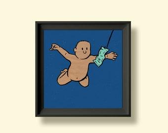 Nirvana - Nevermind - Album Artwork Print – Music Poster- Illustrated Wall Art - Home Decor- A4,12 Inch, 7 Inch. Pango Tango