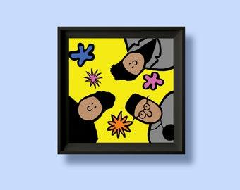 De La Soul - 3 Feet High & Rising - Album Artwork Print – Music Poster- Illustrated Wall Art - Home Decor- A4,12 Inch, 7 Inch. Pango Tango