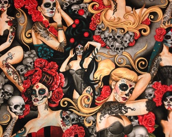 Skulls Sugar Skull Ladies Cotton Nocturna Brite Fabric by the Yard Nocturna Bright Alexander Henry Fabric TheFabricEdge