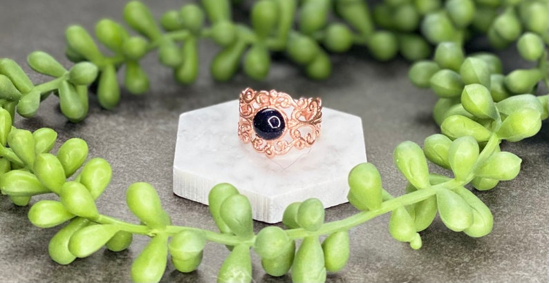 Blue Sandstone Electroformed Ring Size 8