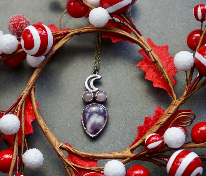 Amethyst and Rose Quartz Crystal Moon Copper Jewelry Goddess Moon Electroformed Necklace
