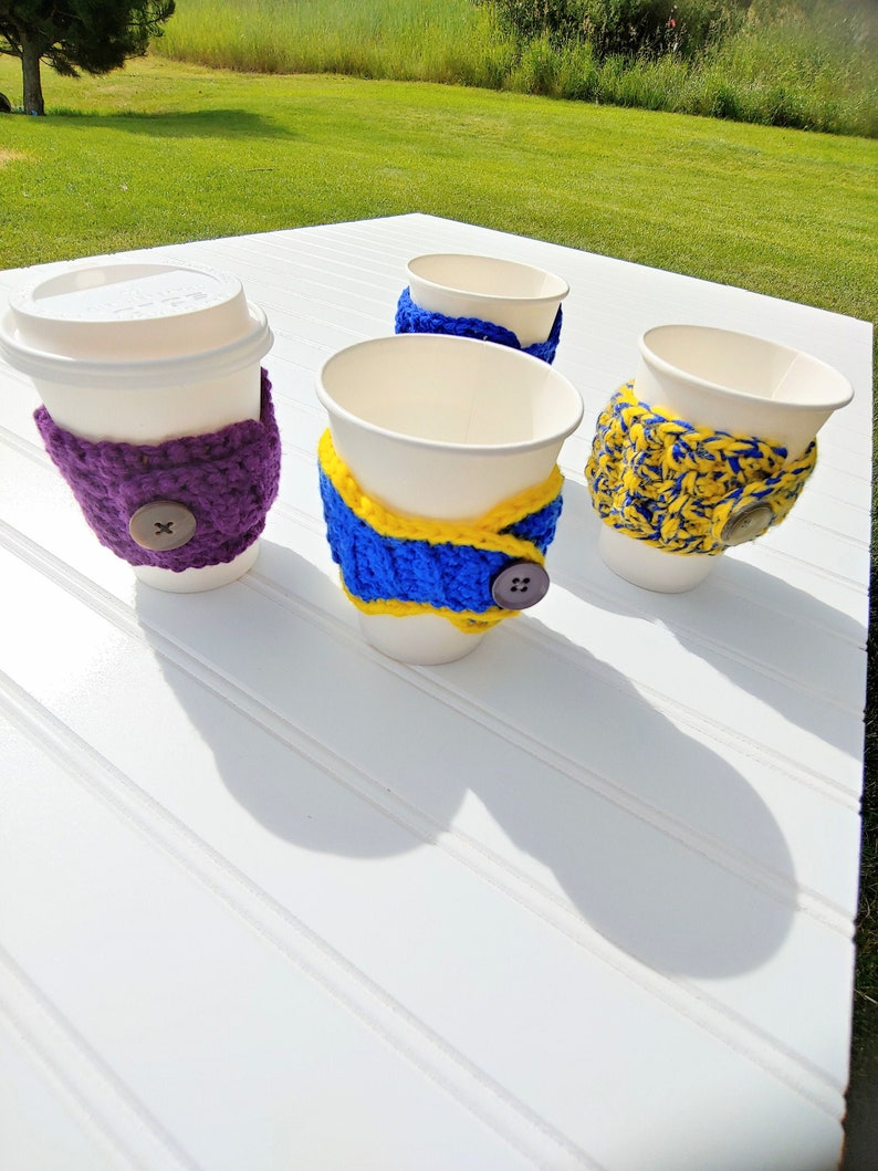 Crochet Cup Cozies with Button Coffee Cup Coozie Fall Vibes image 0