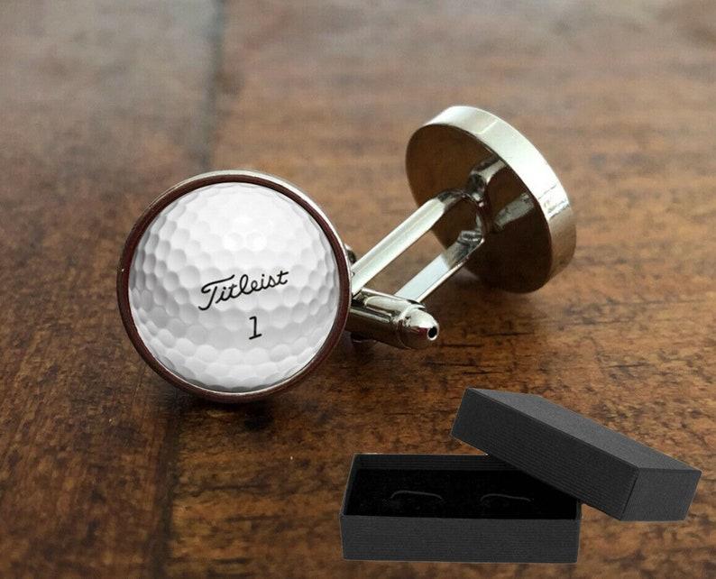 Golf Ball Cufflinks  Free Presentation Box  16mm Rhodium image 0