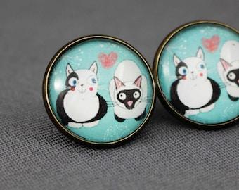 Studs, cats, Siamese cat, turquoise, heart, Japan, love, black, modern, kitten, white, animals, women, glass, jewelry, silver, pet