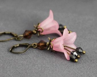 pink with dark brown dark gray elegant boho floral flowers Flower earrings antique bronze wedding romantic gift women