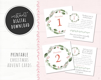 Biblical Christmas Advent Countdown Cards, INSTANT DIGITAL DOWNLOAD