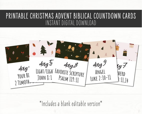 Christmas Biblical Countdown Cards Advent Cards. Countdown to