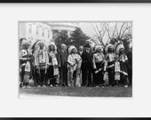 Photo Coolidge, Sioux Indian Republican Club, Rosebud 1925 . Vintage Black