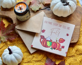 Fall Lover Greeting Card   Friendship   Love   Autumn   Pumpkin Spice   Hand Painted   Seasonal Cards   Happiness   Kindness Cards