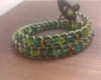 Handcrafted green beaded leather boho wrap bracelet