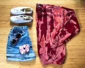Acid Wash Crew Sweatshirt in Pomegranate (dark red maroon cranberry crewneck acid tie dye)