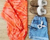 Acid Wash Crew Sweatshirt in Tangerine (orange creamsicle cream tan crewneck acid tie dye)