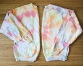 Kiwi Smoothie Capsule Collection Tie Dye Crew Sweatshirt (pastel lime light blue pink orange ice dye)