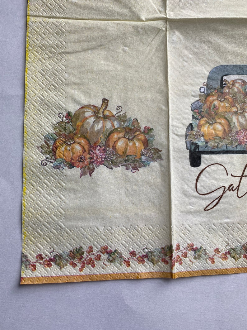 Scrapbooking crafting 3 Fall Gather Pumpkin Truck Paper Napkins for Decoupage