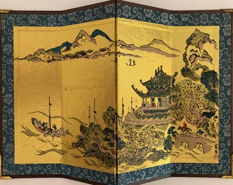 """Vintage Byobu Japanese Four Panel Screen - 7 1/8"""" tall x 10 3/8"""" wide - Signed By Artist - Outdoor Scenery - Boats"""