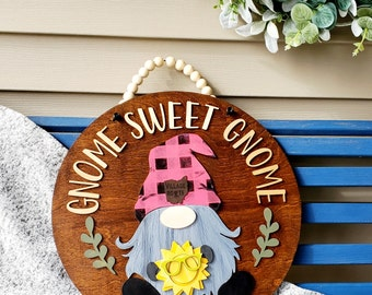 LELEBEAR Gnome Goor Hanger for All Seasons Style 1 Welcome Sign with Interchangeable Holiday Pieces for Front Door Porch Hanging Handmade
