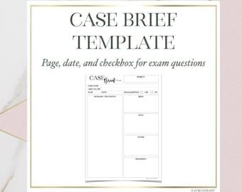 Law School Editable PDF Case Brief Temp w/ Precedent  (DIGITAL DOWNLOAD)