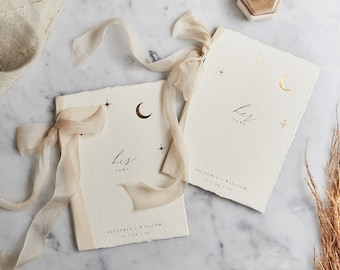His & Her's Personalised Vow Books / Wedding Vows / Wedding Vow Books