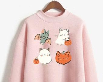 Kawaii Cat Ghost Sweatshirt Kawaii Halloween Sweater Harajuku Hoodie Creepy Cute Pullover Spooky Crewneck Pastel Goth Clothing Lolita Hoodie