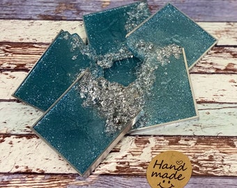 Set of 6 Resin Coasters. Ideal for New house - House warming - Wedding Day - Present