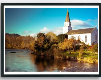 Church on the river in Autumn in the Scottish highlands.  Printable Art.  Highland, Scotland.