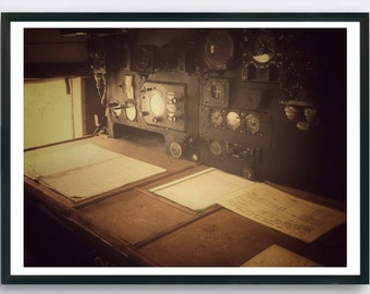 Interior of an old war plane showing the radio communications desk, Wartime printable photo, Sepia tone