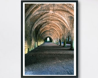 Abbey architecture photo.  Ruins of an old Church Abbey. Printable Art.