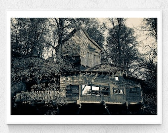 Wooden Tree house in Northumberland UK, Printable Art, black and white photo