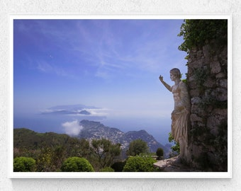 Italy photography Island of Capri near Sorrento on the amalfi coast.  PRINTABLE Wall art for travel lover of Monte Solaro